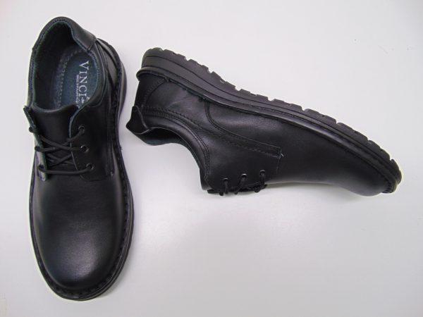 Półbuty męskie Vinci Nikopol 301-01 czarne skóra lico