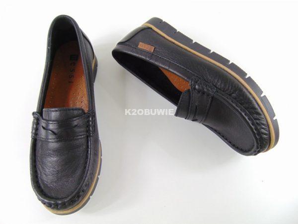Mokasyny Nessi 76506-1 czarne skóra licowa