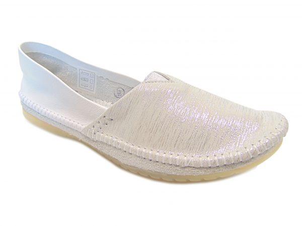 Maciejka 01930-05 balerinki biało-srebrne