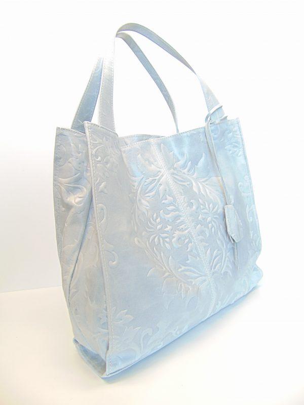 Skórzana torebka jasno szara