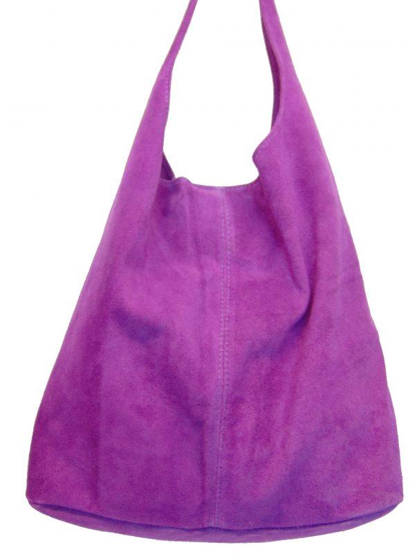 Skórzana fioletowa torebka