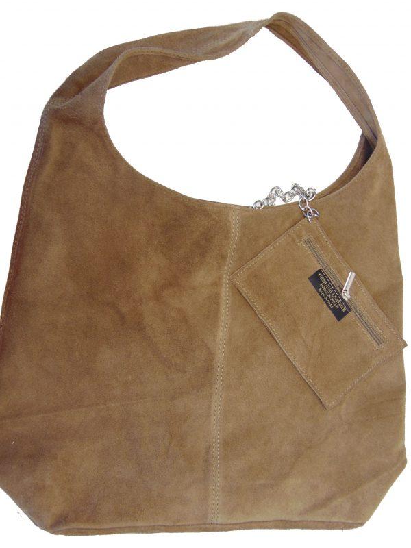 Skórzana beżowa torebka