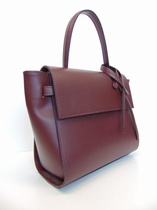 Skórzana torebka listonoszka/kuferek bordowa