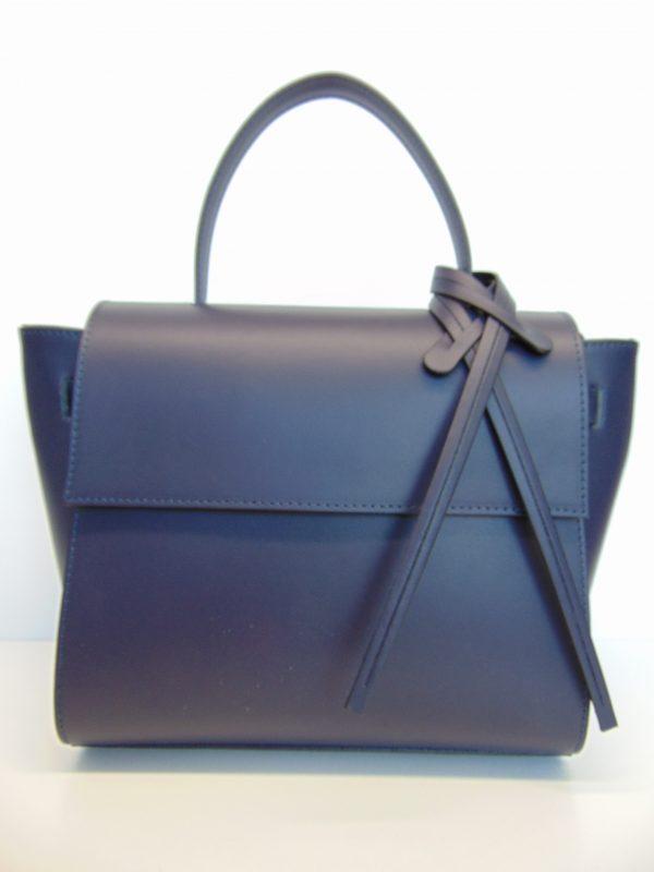 Skórzana torebka listonoszka/kuferek granatowa