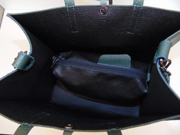 Skórzana zielona torebka