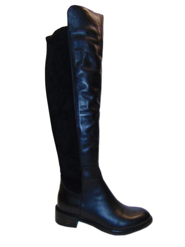 Kozaki Carinii 4731 skóra+strecz czarne