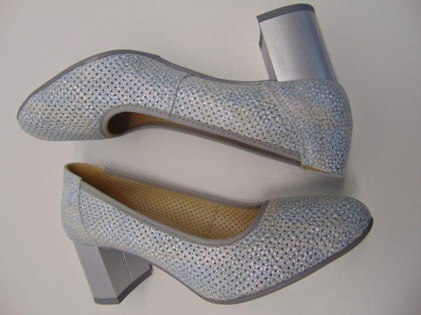 Czółenka ażurowe Gamis 3370-A20 szaro srebrny
