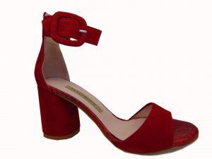 Sandały Bravo Moda 1698 czerwony zamsz
