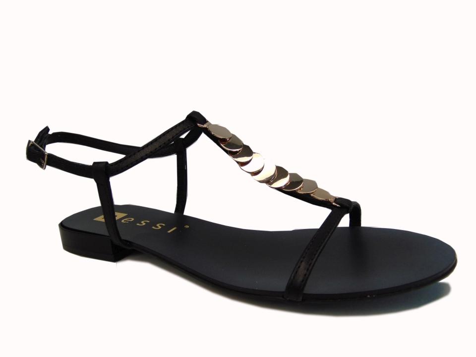 Sandały Nessi 19563 czarne lico | Buty damskie na lato
