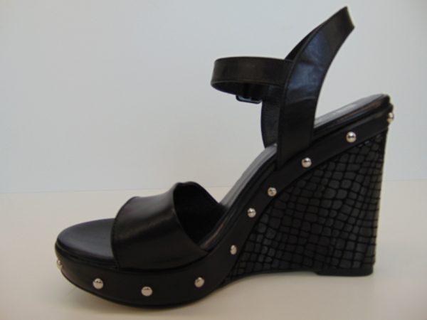 Sandały na koturnie Carinii 4777 skóra czarne