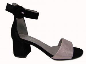 Sandały Bravo Moda 1743 czarny zamsz+brokat