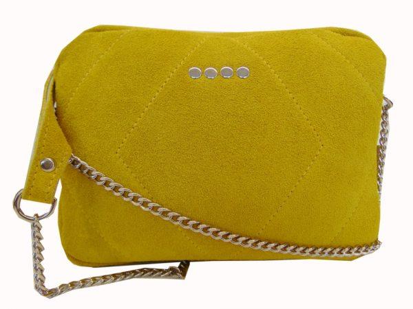 Skórzana torebka listonoszka żółta