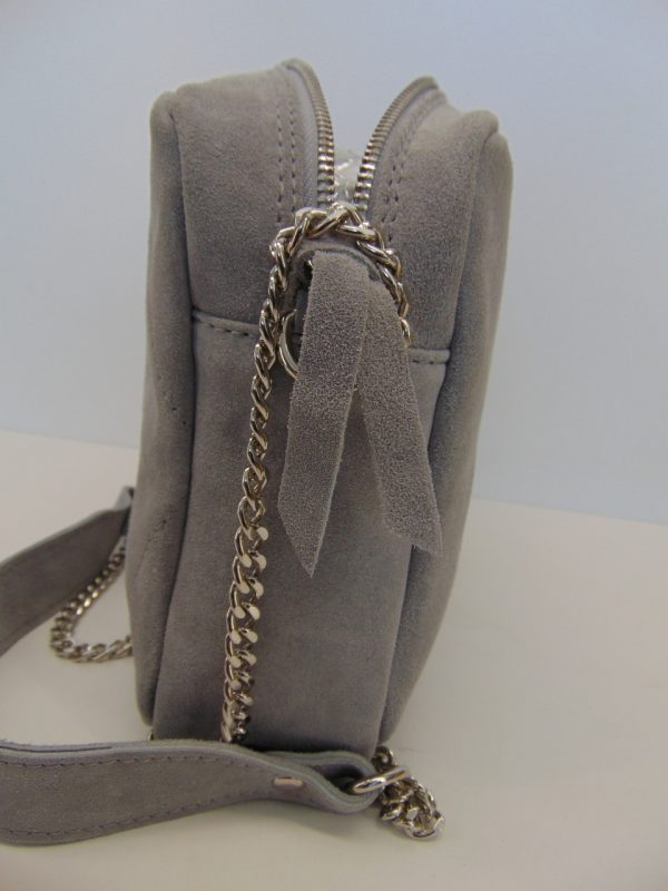 Skórzana torebka listonoszka szara
