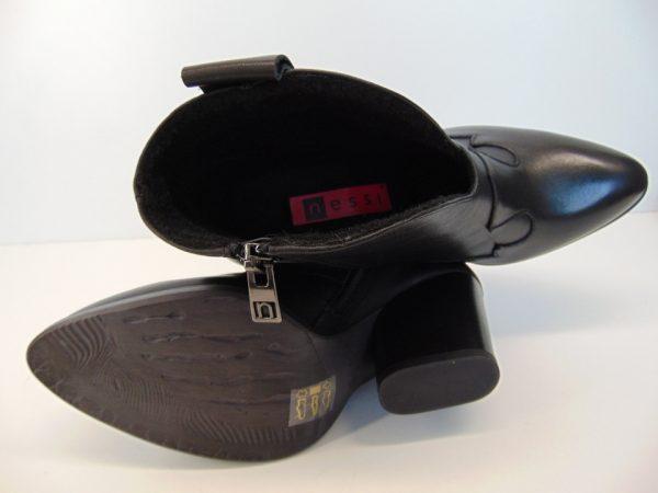 Botki Nessi 19640 skóra lico czarne