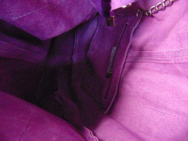 Borse in Pelle skórzana torebka fioletowa