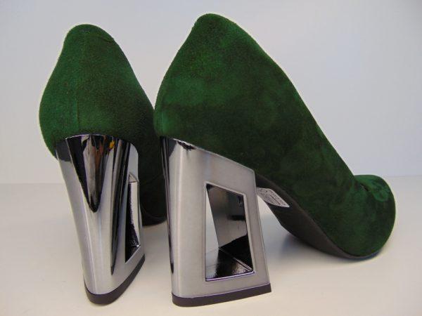Czółenka Kati 6034 Z100 skóra zielony lustrzany obcas