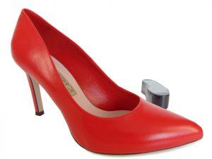 Szpilki Bravo Moda 1373 czerwona skóra lico
