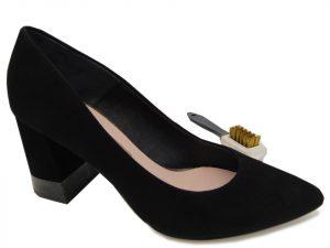 Czółenka Bravo Moda 1669  czarny zamsz+glitter