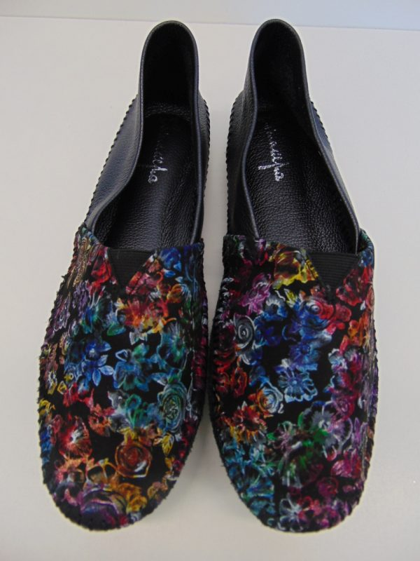 Espadryle baleriny Maciejka 1930A-60 czarne+kwiaty