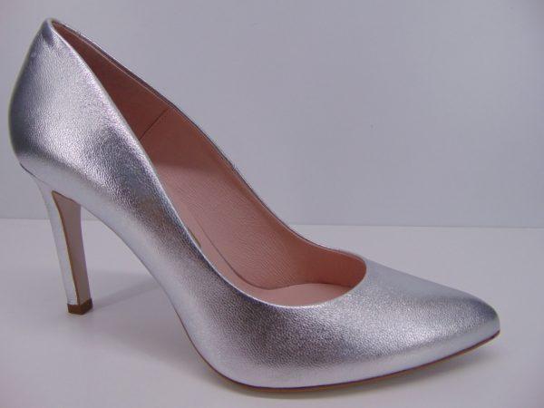 Szpilki Bravo Moda 1373 skóra srebrne