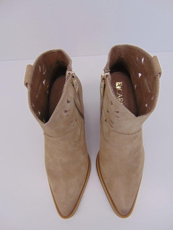 Kowbojki Carinii B5491-H17 skóra welur beż