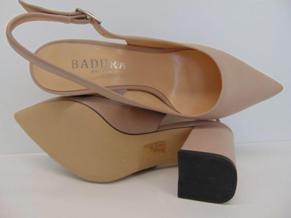Baleriny Badura 6489-69 skóra lico białe