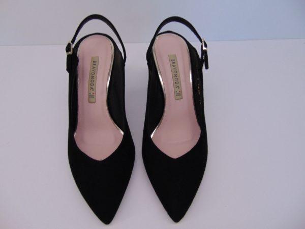 Czółenka Bravo Moda 1823 skóra czarny zamsz