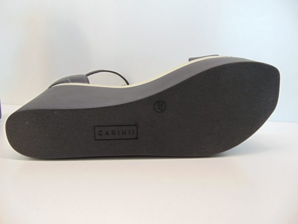 Carinii sandały na koturnie B5772 skóra czarny